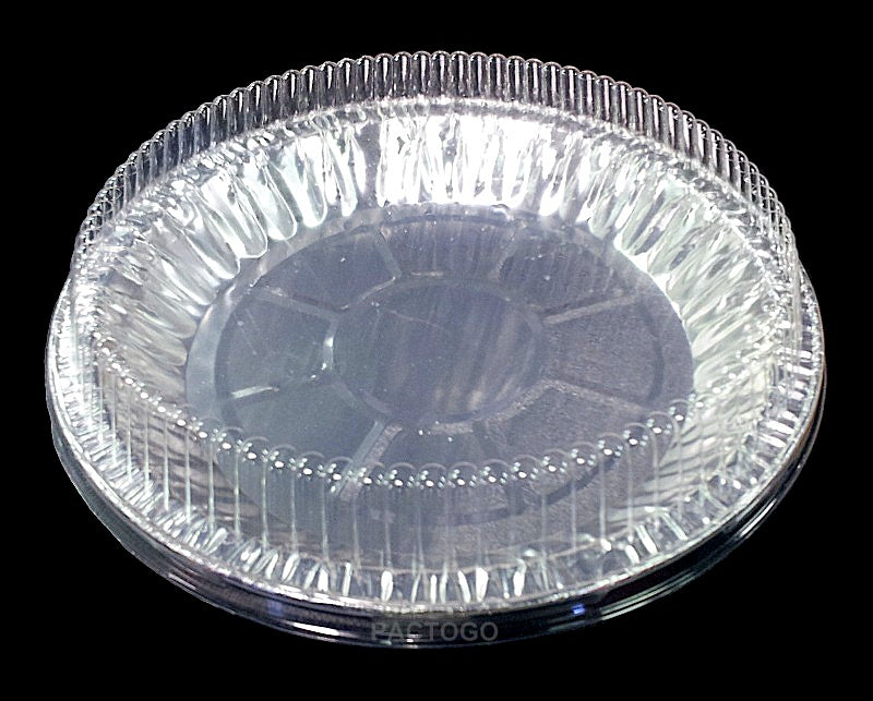 "9"" Round Foil Pie 1"" Deep w/Clear Dome Lid"