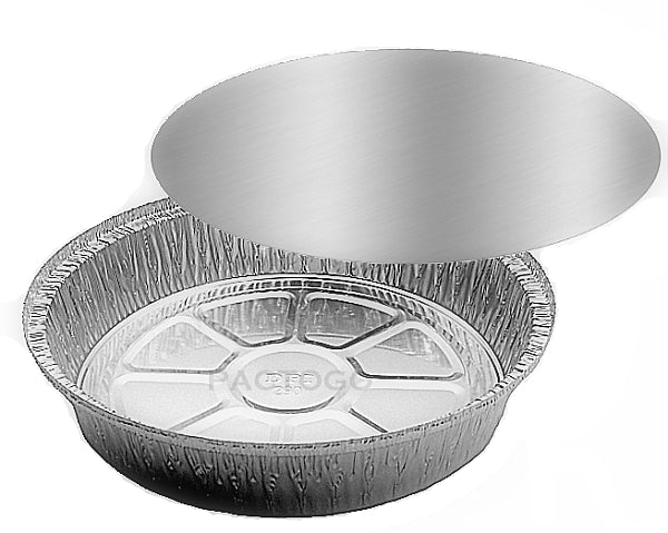 "9"" Round Foil Take-Out Pan w/Board Lid Combo Pack"