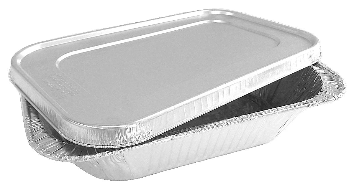 Quarter-Size Deep Steam Table Aluminum Foil Pan w/Lid Combo 50/PK