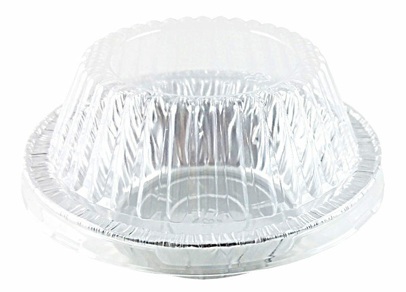 "Handi-Foil 5 3/4"" Aluminum Foil Pot Pie Pan w/Clear Dome Lid 125/PK"