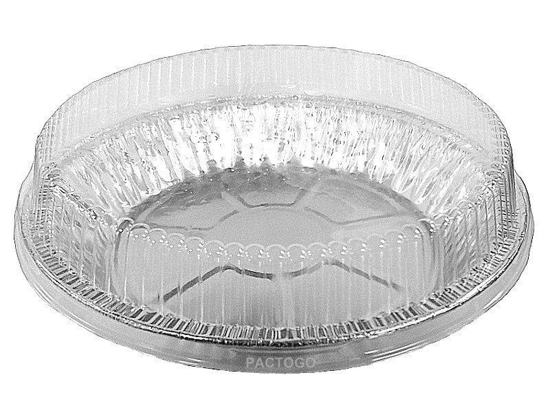 "9"" Foil Pie Pan 1"" Deep w/Clear Dome Lid"