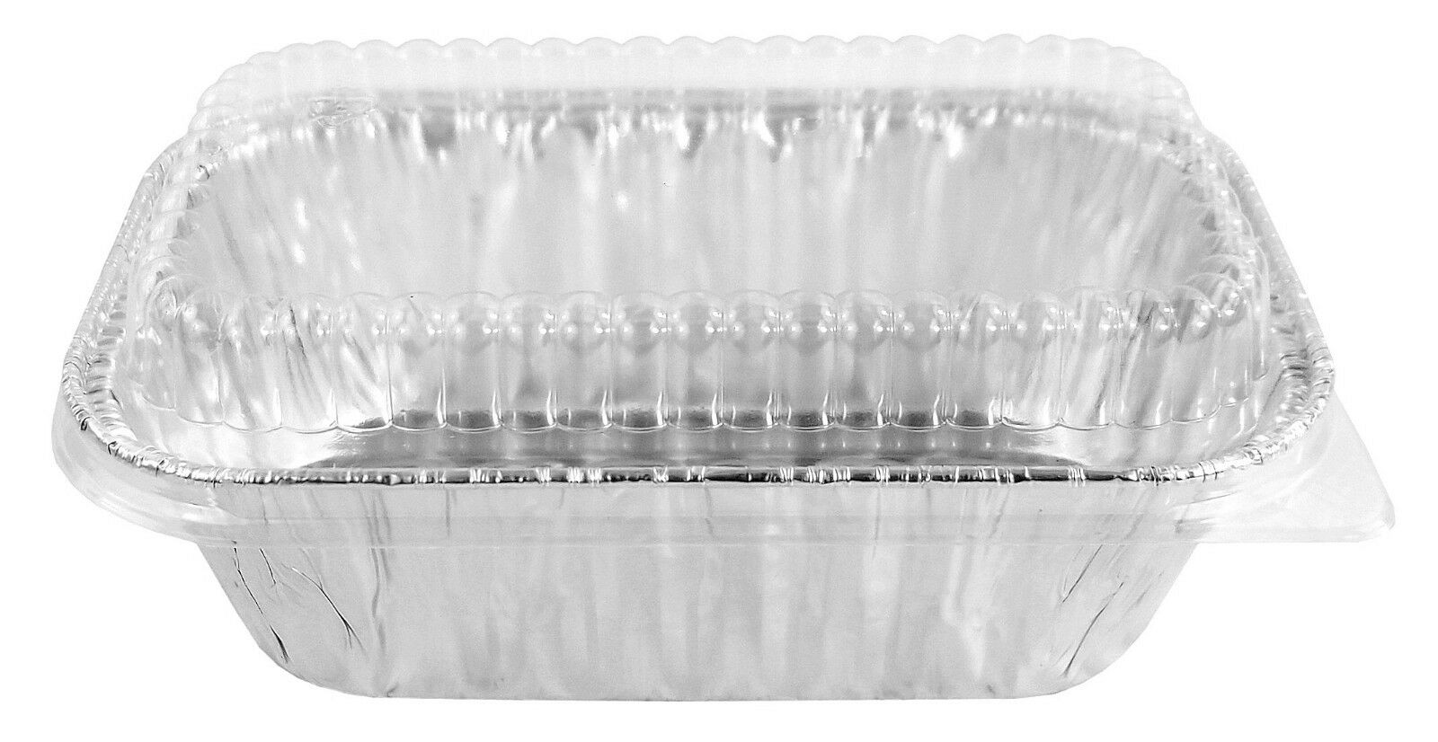 Handi-Foil 1 lb.  Aluminum Foil Mini-Loaf Pan w/Low-Dome Lid 50/PK