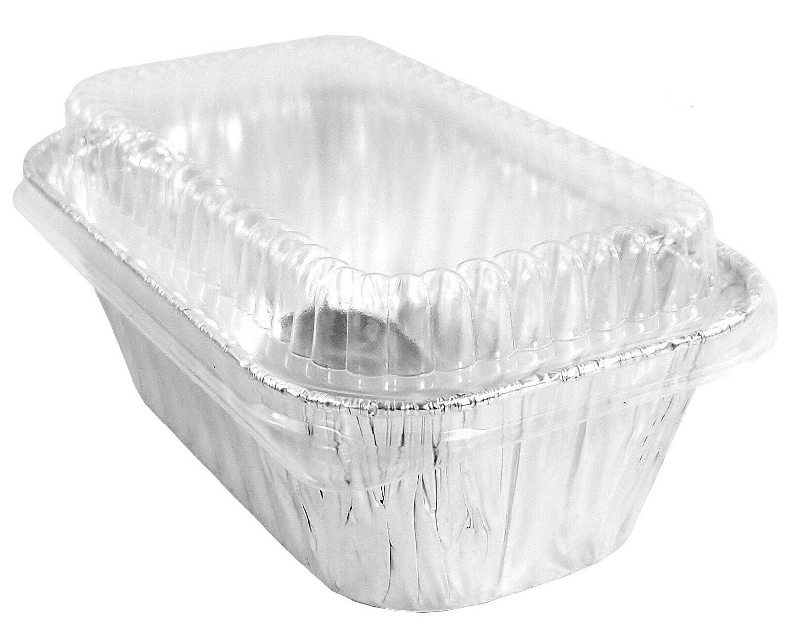 25//PK Aluminum 1 lb Mini Loaf Pans w Clear Dome Lids Made in USA by Handi-Foil