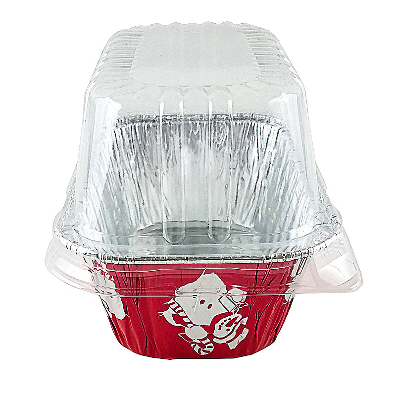 Handi-Foil 1 lb. Red Holiday Snowman Pan w/High Dome Lid