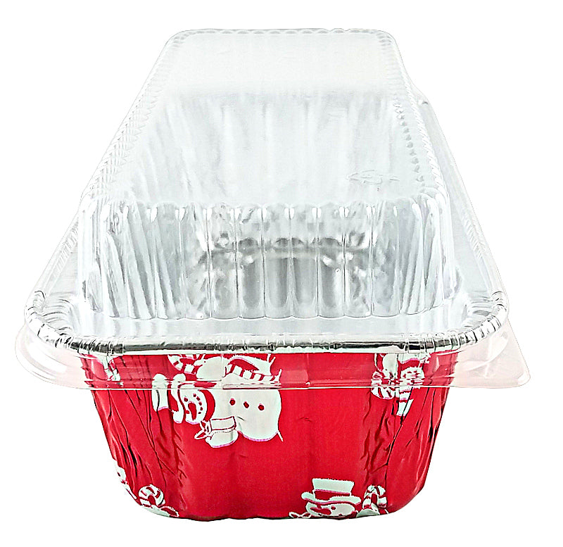 Handi-Foil 2 lb. Red Holiday Snowman Loaf Bread Pan w/Low Dome Lid