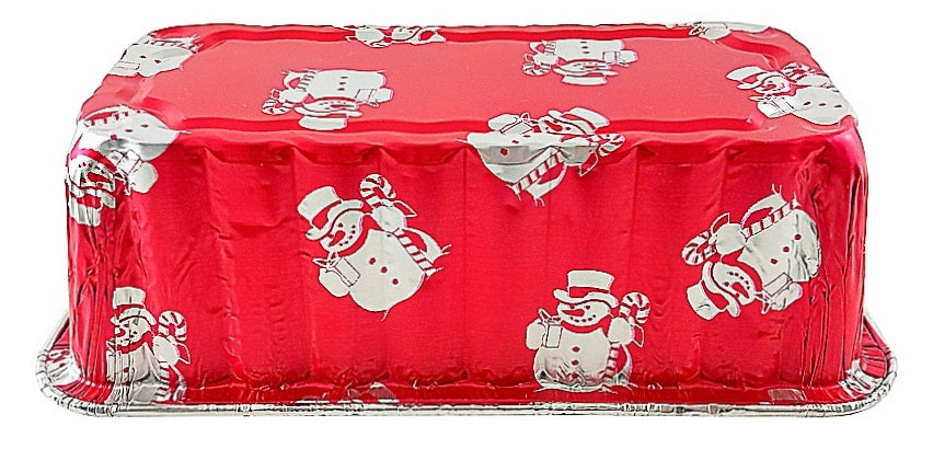 Handi-Foil 2 lb. Red Holiday Snowman Loaf Bread Pan