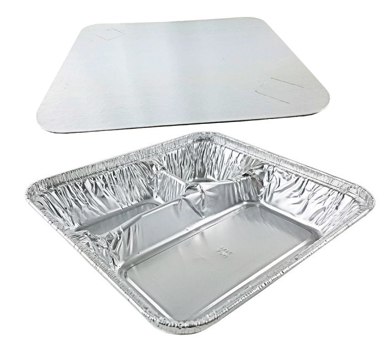 Handi-Foil Large 3-Compartment Oblong Pan w/Board Lid Combo