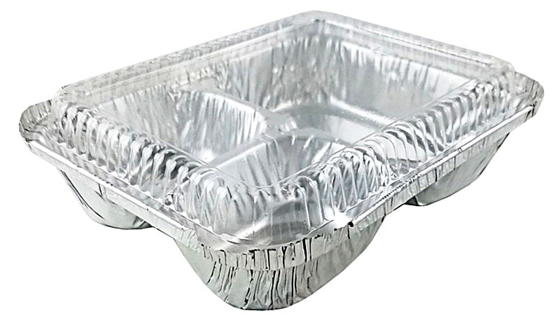 3 Compartment Oblong Take-Out Foil Pan w/Dome Lid