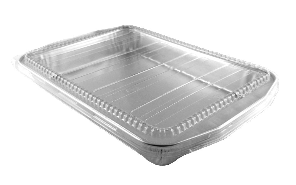 HFA Gourmet-To-Go Extra-Large 7 lb. Rectangular Silver Entrée Foil Pan w/Clear Dome Lid 25/CS