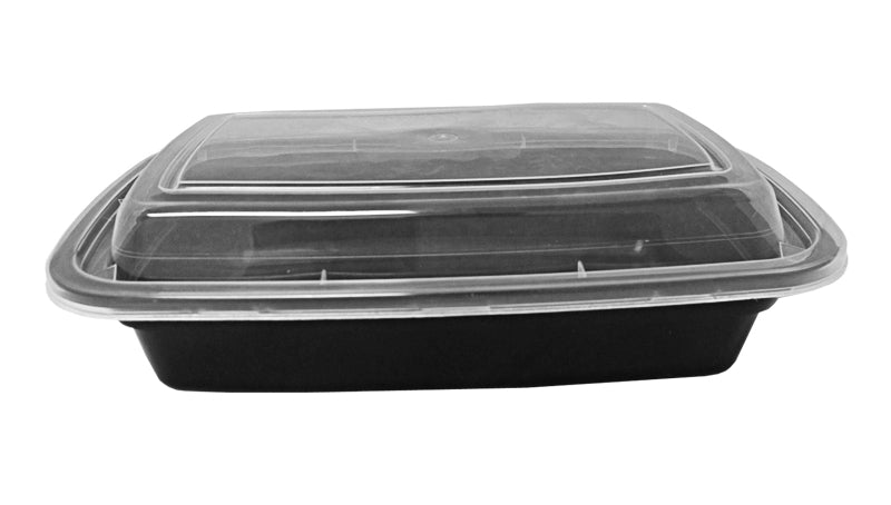 24 oz. Rectangular Black Container w/Lid Combo 50/PK