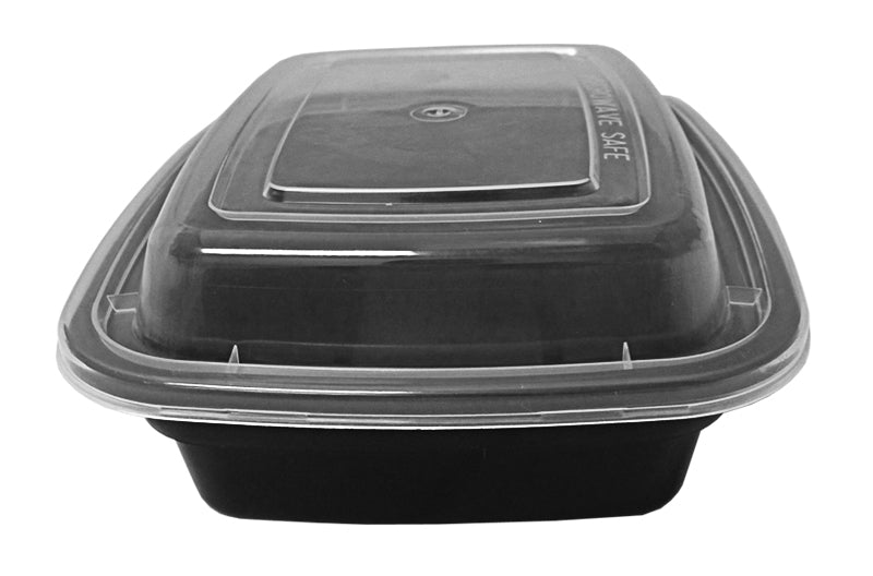 12 oz. Rectangular Black Container w/Lid Combo 150/CS