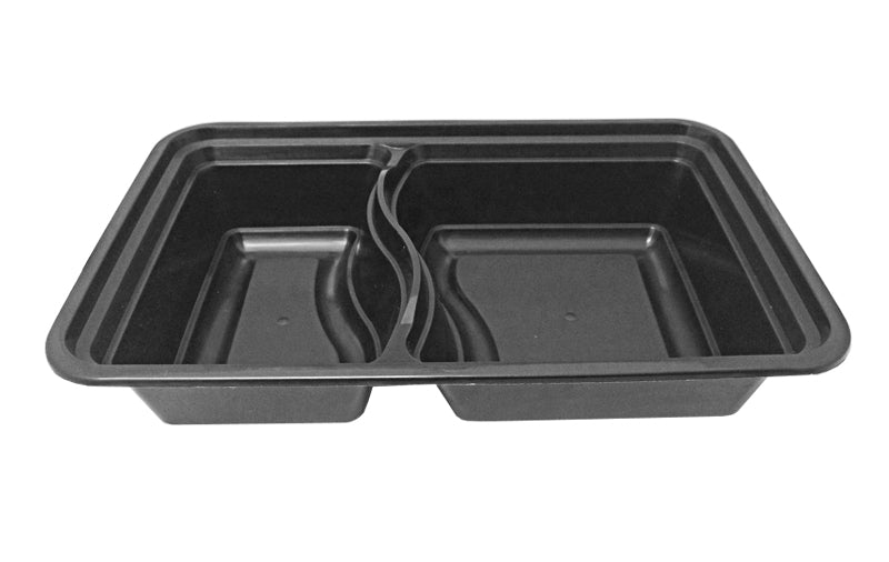 32 oz. Rectangular 2-Compartment Black Container w/Lid Combo 150/CS