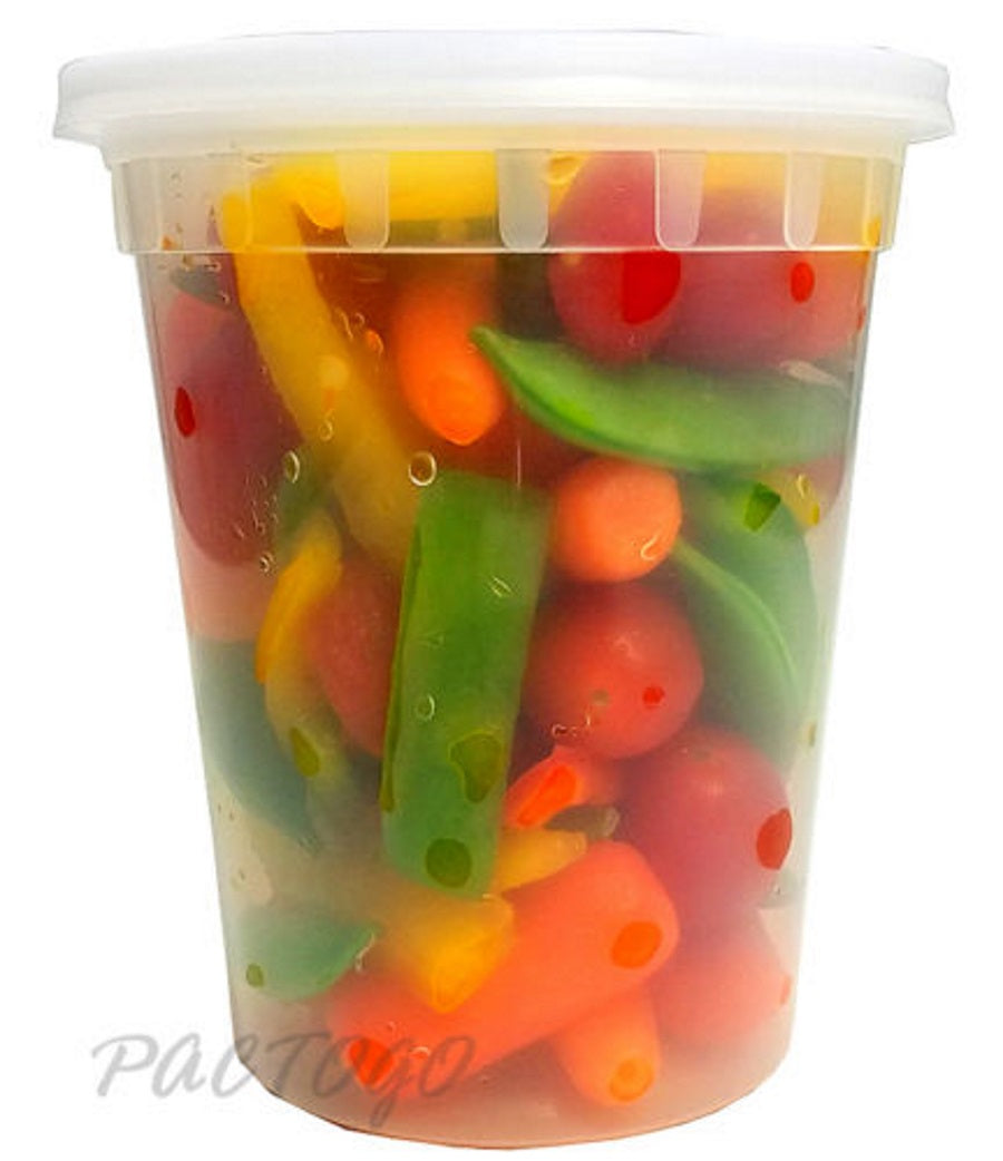 32 oz. Round Microwaveable Soup Container w/Lid