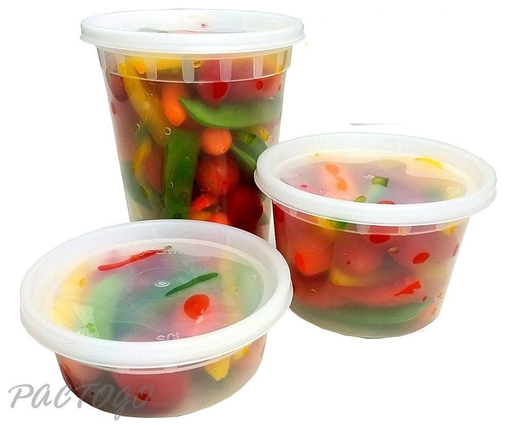 16 oz Clear Round Deli Container with Lid 250 containers and 250 matching lids