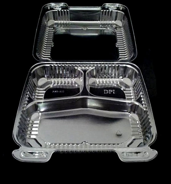 "8"" Medium Clear Hinged 3Compartment Container"
