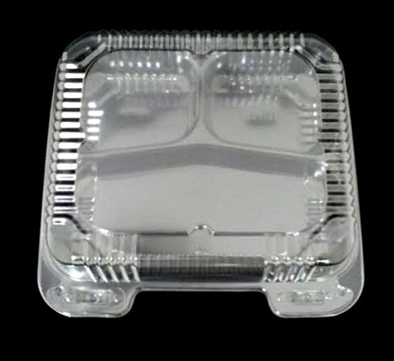 "8"" Medium Clear Hinged 3 Compartment Container"