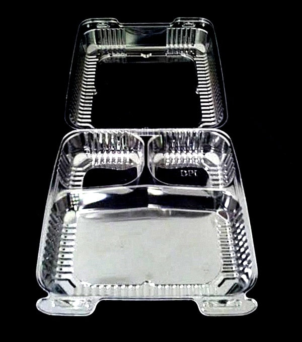 "9"" Medium Clear Hinged 3 Compartment Container"