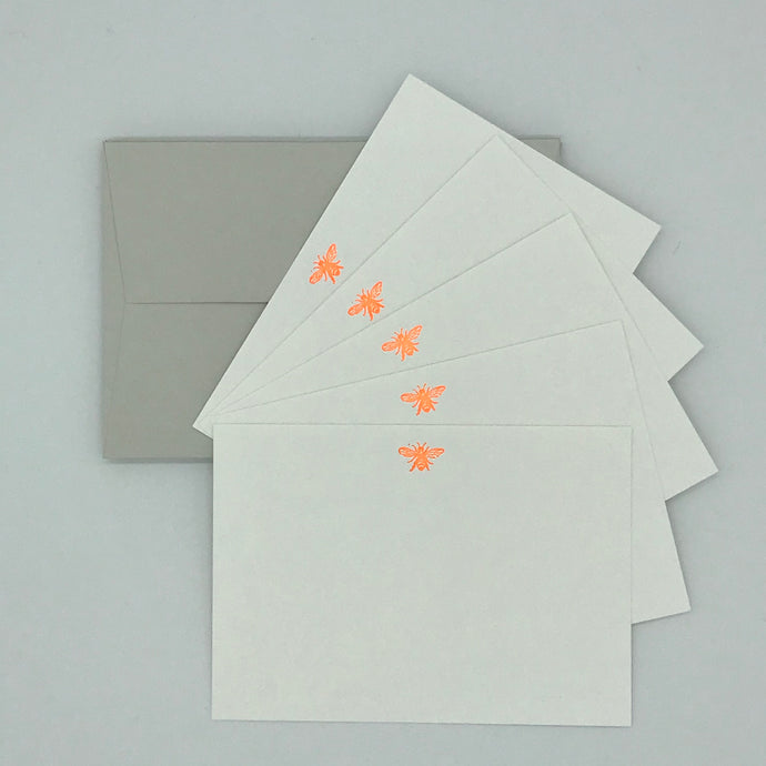 Neon Orange  Busy Bee notecards in a set including premium envelopes perfect gift or stocking filler