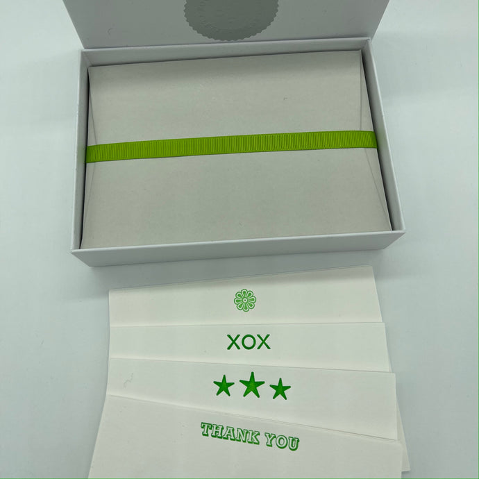 Neon Green mixed box set of cards, Flower, XOX, Three Stars, THANK YOU