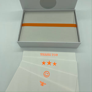 Neon Orange Box set of cards, THANK YOU, Three Stars, Smiley Face, Bee