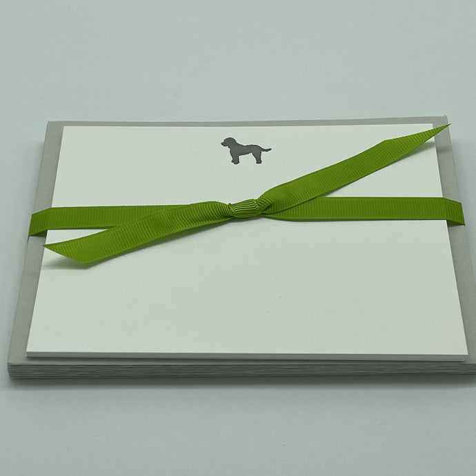 Cockapoo Dog letterpress printed on Pristine White Notecards with Pale Grey envelopes and tied with Neon Green Grosgrain ribbon