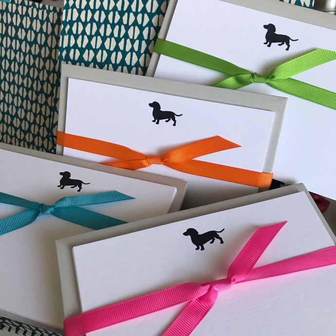 Smooth haired miniature dachshund notecards tied with Neon ribbons in Pink, Orange, Green and Blue complete with premium envelopes make perfect gifts for dog lovers