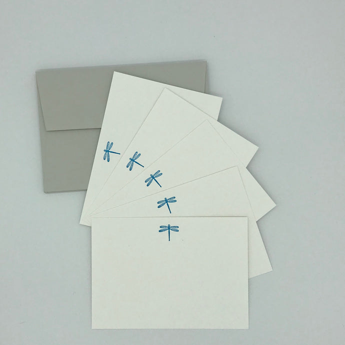Dragonfly notecards  in NEON Blue complete with envelopes perfect gift for girls who love to write their thank you cards
