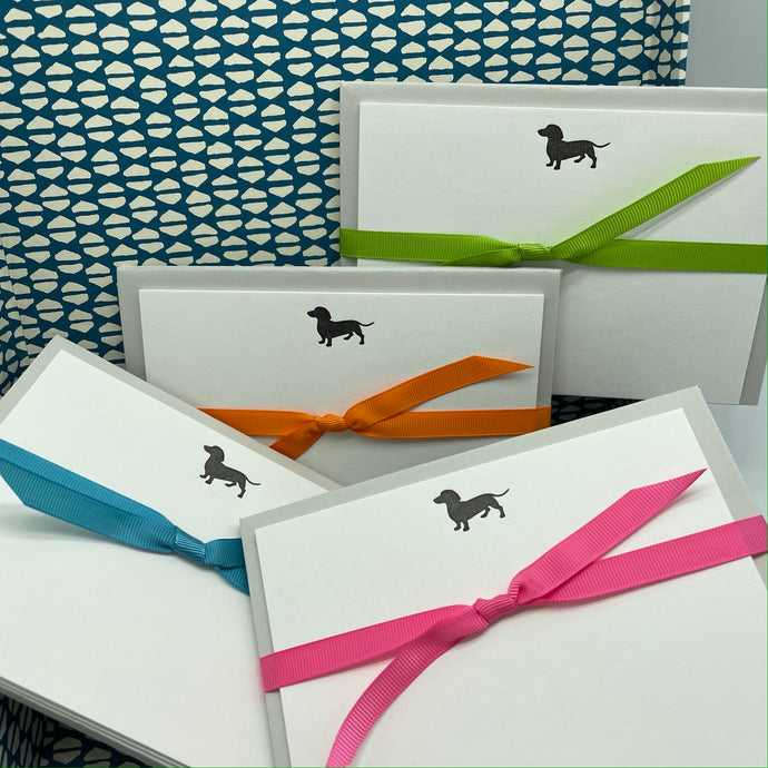 Miniature Dachshund in black ink with pale grey premium envelopes and tied with neon pink, orange, green or blue grosgrain ribbon