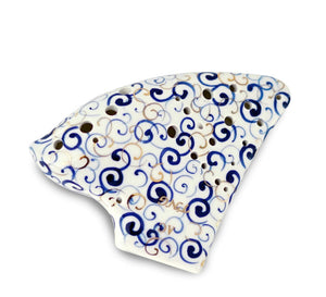 Blue and White Porcelain Tenor Triple Ocarina