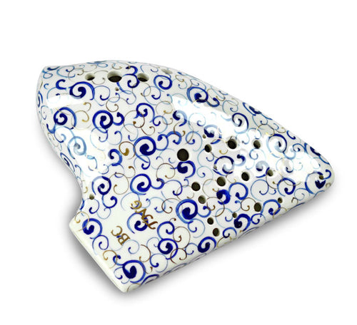 Blue and White Porcelain Triple  Bass Ocarina