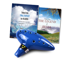 Load image into Gallery viewer, 12 Hole Tenor Ocarina with Zelda Songbook and  Final Fantasy Songbook
