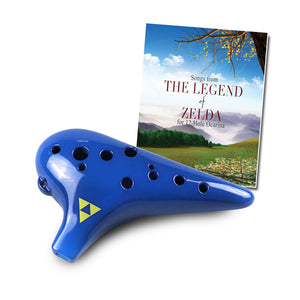 New 12 Hole Plastic Zelda Tenor Ocarina in C Major with Zelda Songbook