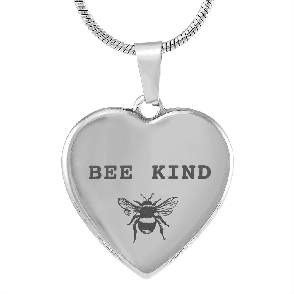 Engraved Bee Kind Heart Pendant Style 3