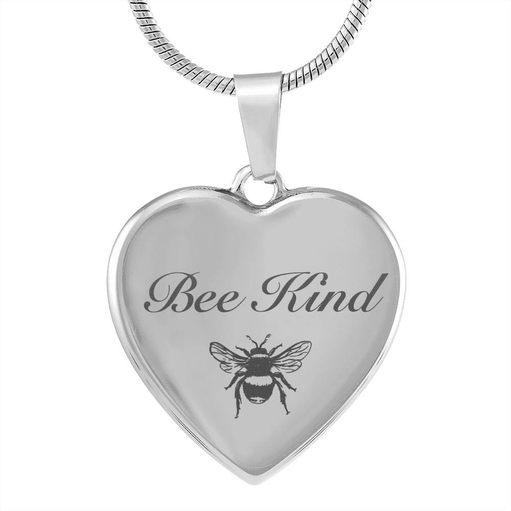 Engraved Bee Kind Heart Pendant Style 2