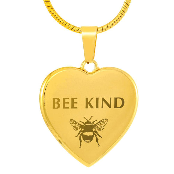 Gold-Plated Bee Kind Heart Pendant With Custom Engraving On The Back