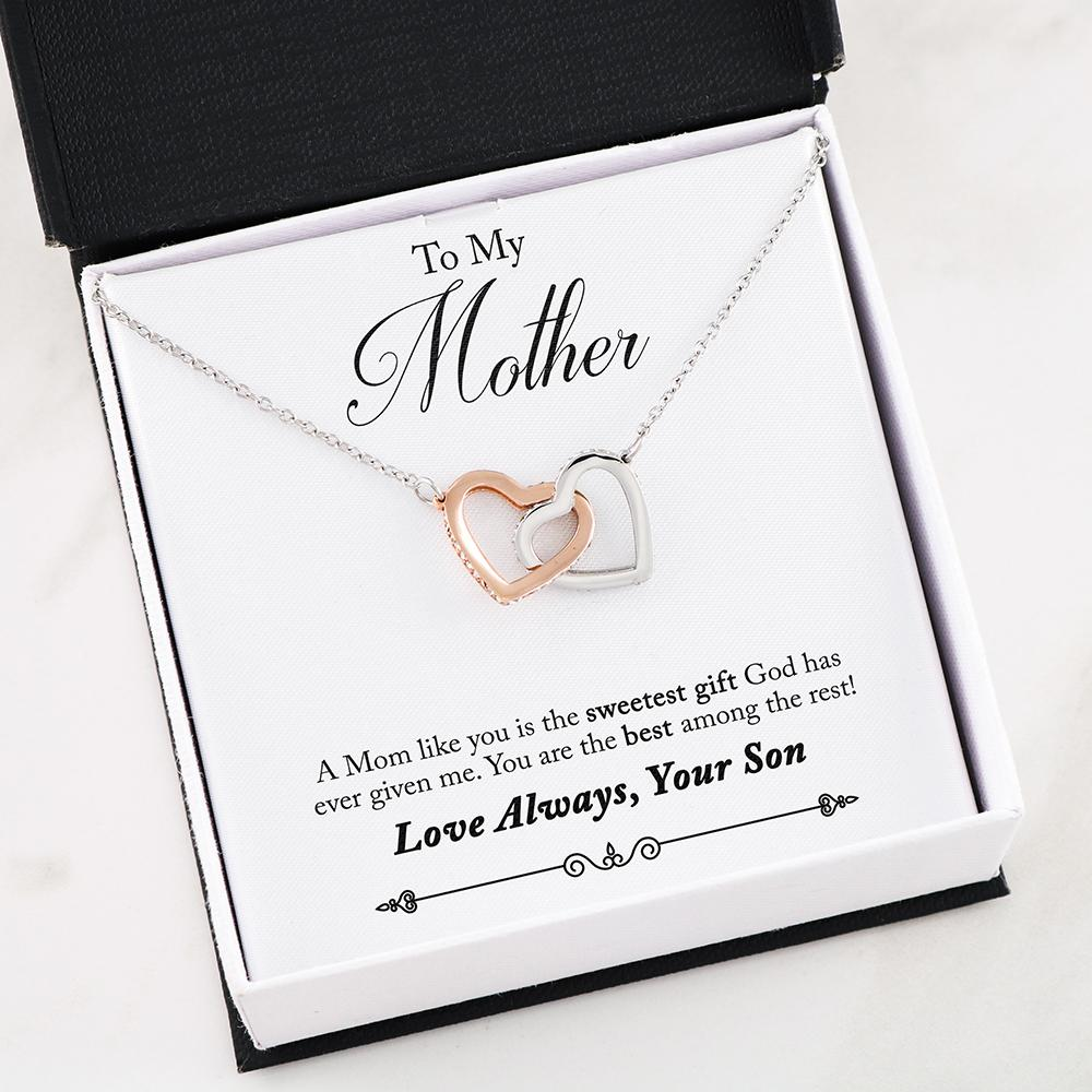 """To my Mother, a Mom like You is the sweetest gift... Love, your son"" Dual Hearts Necklace"