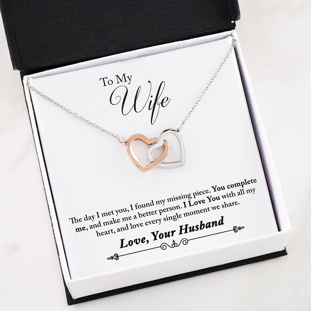 """To My Wife, You Complete Me... Love, Your Husband"" Dual Hearts Necklace"