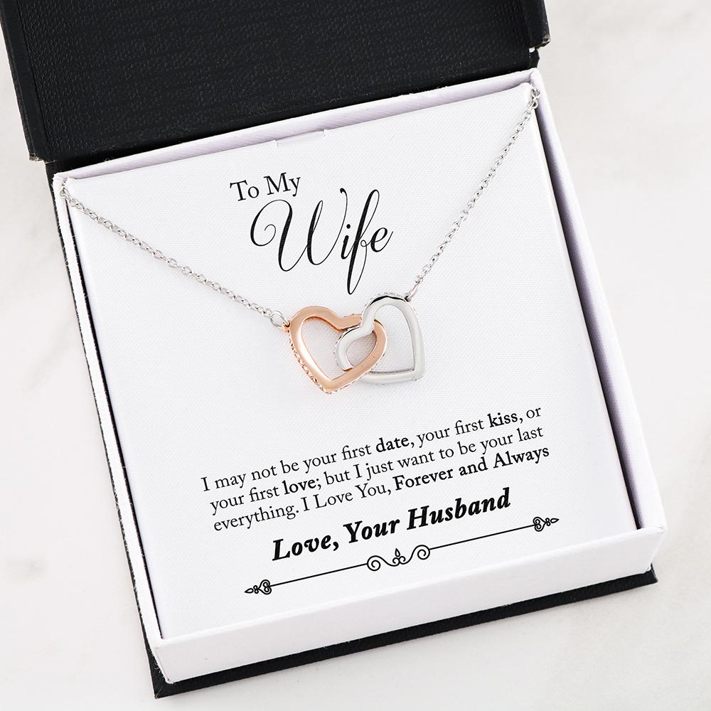 """To my Wife, I just want to be your last everything... Love, Your Husband"" Dual Hearts Necklace"