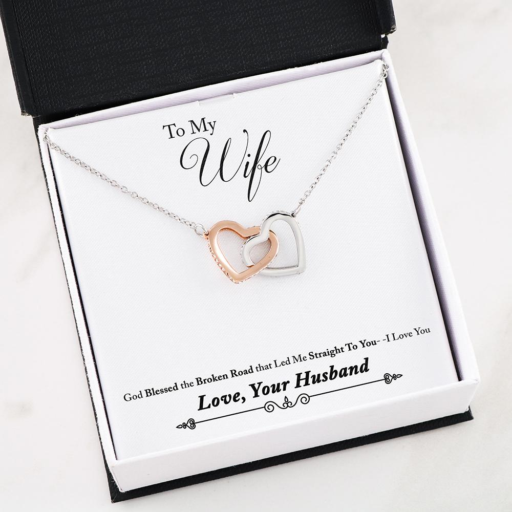 """To my Wife, God blessed the broken road... Love, Your Husband"" Dual Hearts Necklace"