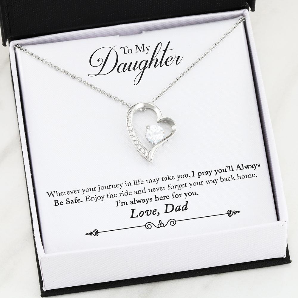 """To My Daughter, I'm Always Here For You. Love, Dad"" Heart Necklace"
