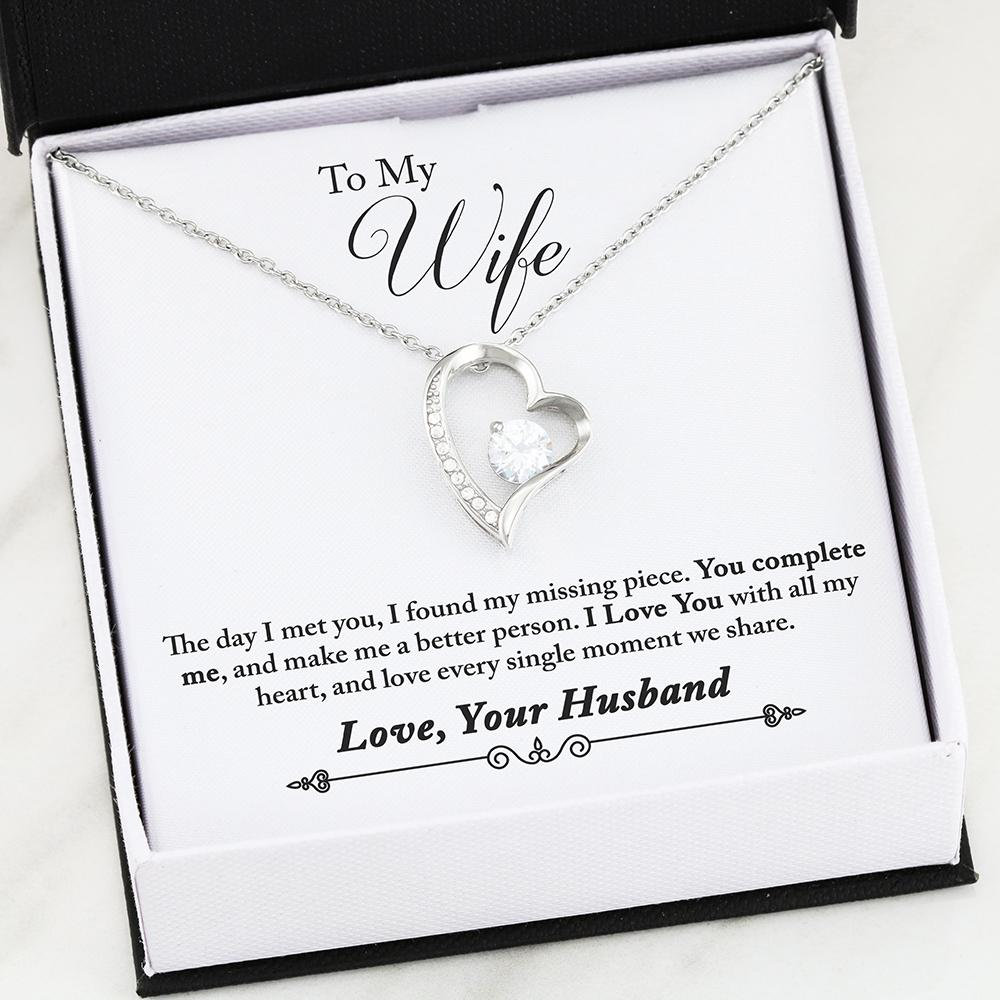 """To My Wife, You Complete Me... Love, Your Husband"" - Heart Necklace"