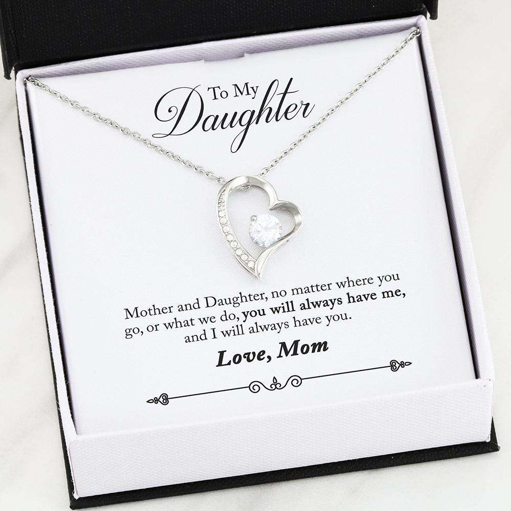 """To My Daughter,  No Matter Where You Go... Love, Mom"" Heart Necklace"
