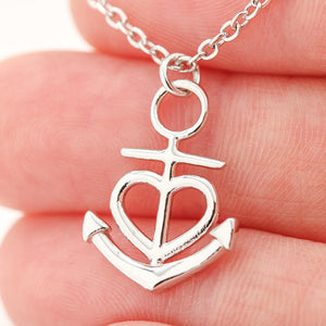 """To My Wife, God Blessed the Broken Road, Love, Your Husband"" Anchor Necklace"