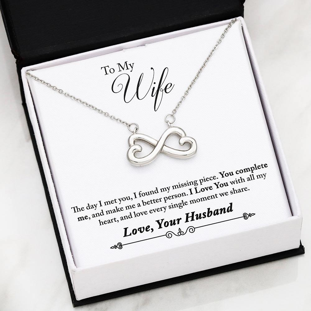 """To My Wife, You Complete Me... Love, Your Husband"" Infinity Heart Necklace"