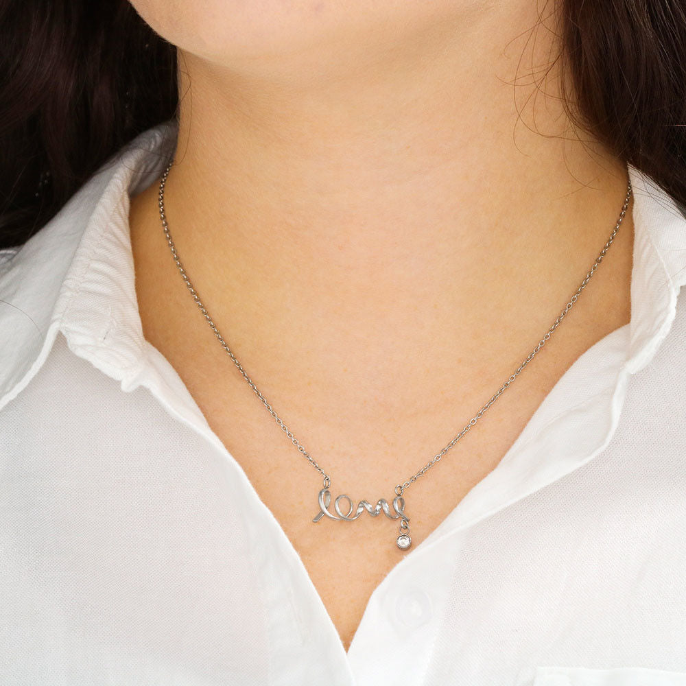 """To My Wife, God Blessed the Broken Road... Love, Your Husband"" Scripted Love Necklace"