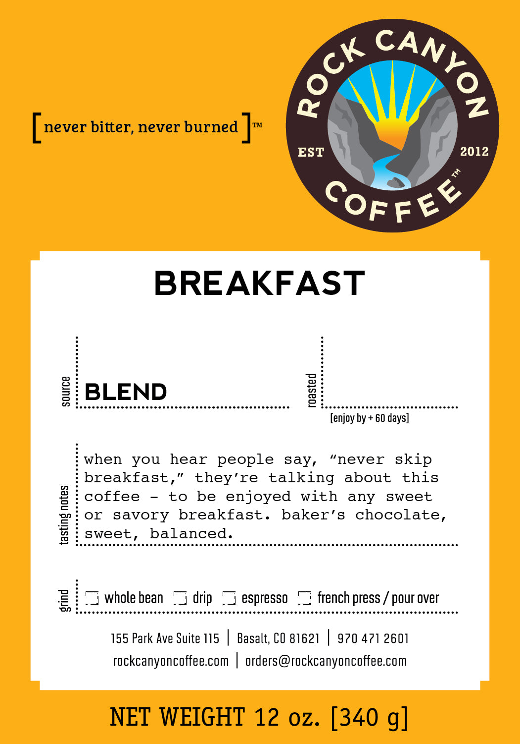 orange yellow Rock Canyon Coffee breakfast blend label with description