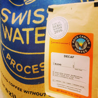 Swiss water process decaf coffee bag and retail bag with local hero sticker