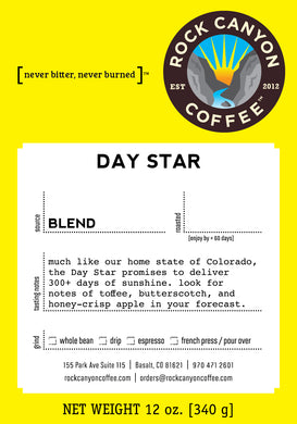 Bright yellow day star rock canyon coffee label with product description