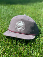 charcoal rock canyon five panel hat with maroon thread across brim
