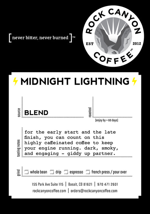 black midnight lightning rock canyon coffee product label with product description